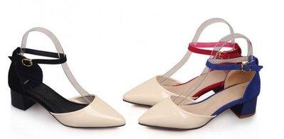 時尚尖頭套腳一字扣帶粗跟女涼鞋紅/藍/黑34-43【no-44982217223】