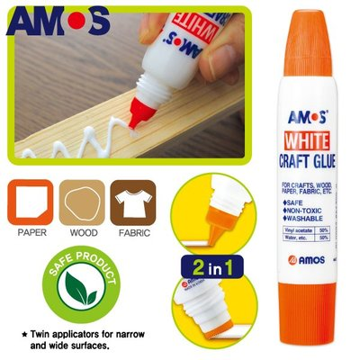 【現貨】韓國AMOS WHITE CRAFT GLUE 學齡兒童 多用途雙頭白膠 36g 兒童白膠 樹脂