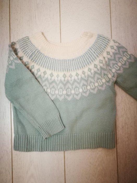 gap湖水綠民族風針織氣質毛衣