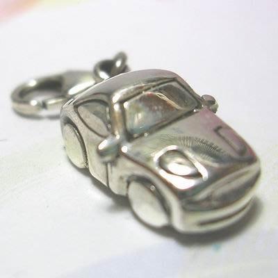 琥珀貓銀飾DIY【925純銀飾品】墜飾~N9479~小轎車~一個