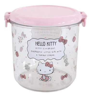 日日雜貨  粉紅 Hello Kitty 壓克力 保存罐 800ml 日本製 現貨 高雄市