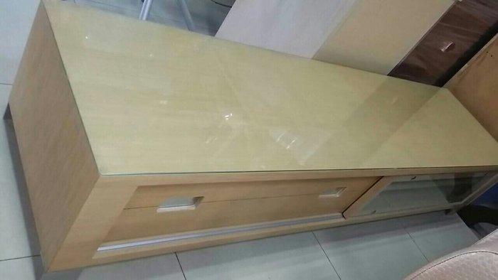 新竹二手家具來來-七尺白象玻璃電視櫃~新竹搬家公司|新豐頭份二手家電買賣-沙發茶几衣櫥床架床墊冰箱洗衣機