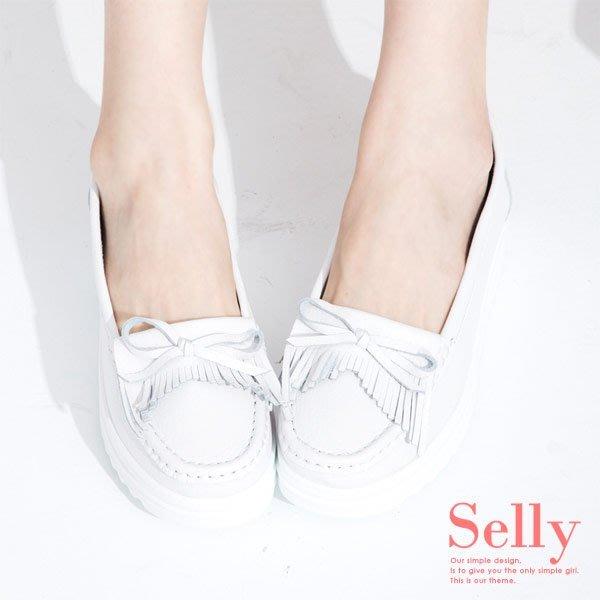 小白鞋 厚底鞋 流蘇蝴蝶結 A款-Selly-沙粒-(G185)白色