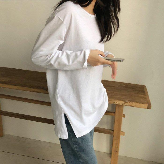 🌺 拿鐵小姐MISS LATTE🌺 搭配 疊穿的好內搭 側邊開叉棉 百搭長版T恤