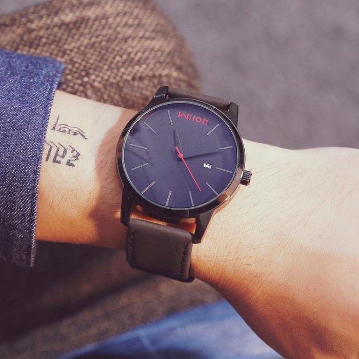 【免運費】時尚潮手錶男學生日韓簡約休閒男士大錶盤防水石英錶QD3C-Y322