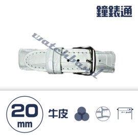 【鐘錶通】C1AC.08KW《繽紛系列》鱷魚壓紋-20mm 雪白┝手錶錶帶/高質感/牛皮錶帶┥