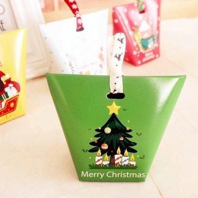(綠色聖誕樹)聖誕節梯形小西點盒 小糖盒 曲奇餅乾 糖果盒 牛軋糖 巧克力 紙盒 耶誕結 禮品包裝