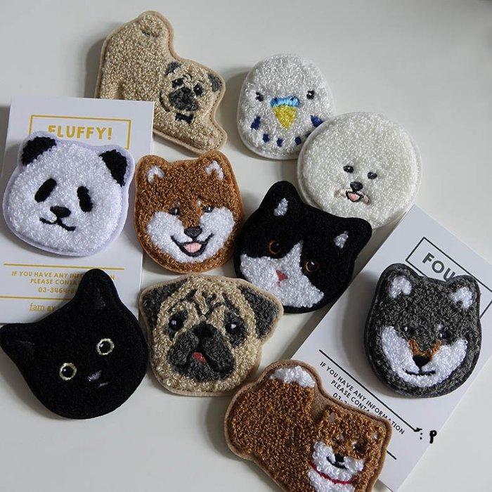 郭公館-日本直送柴犬巴哥貓咪比熊虎皮鸚鵡熊貓毛巾繡別針