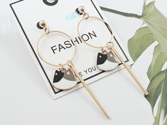 【N&Y】可愛小清新貓咪圈圈耳環耳釘耳圈EB87☆可改耳夾款
