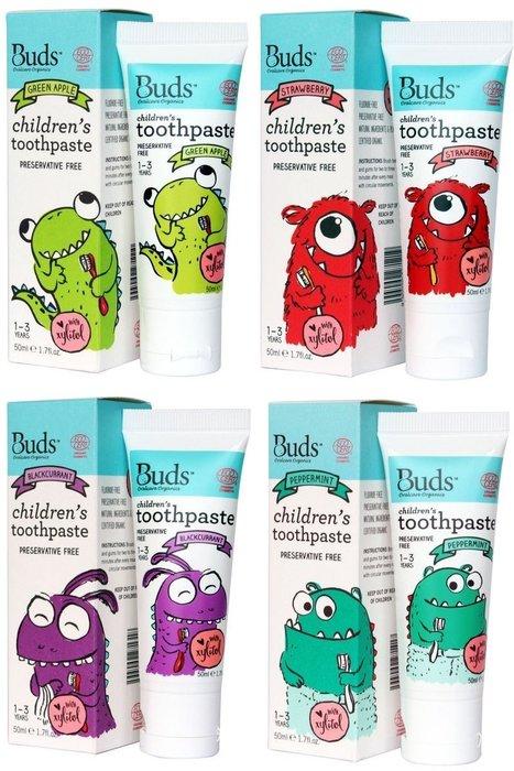 【喜樂之地】澳洲Buds 芽芽有機 口腔護理系列 木醣醇牙膏 1-3歲 (青蘋果、草莓、黑加侖、薄荷) 50ml