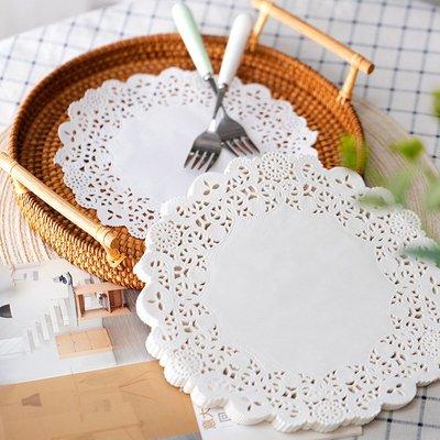 36枚裝廚房花邊擺盤吸油紙蛋糕墊紙花底紙 一次性鏤空花邊吸油襯紙