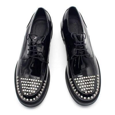 皮鞋 真皮休閒鉚釘厚底鞋-重金屬龐克風油面繫帶男鞋73kv11[獨家進口][米蘭精品]