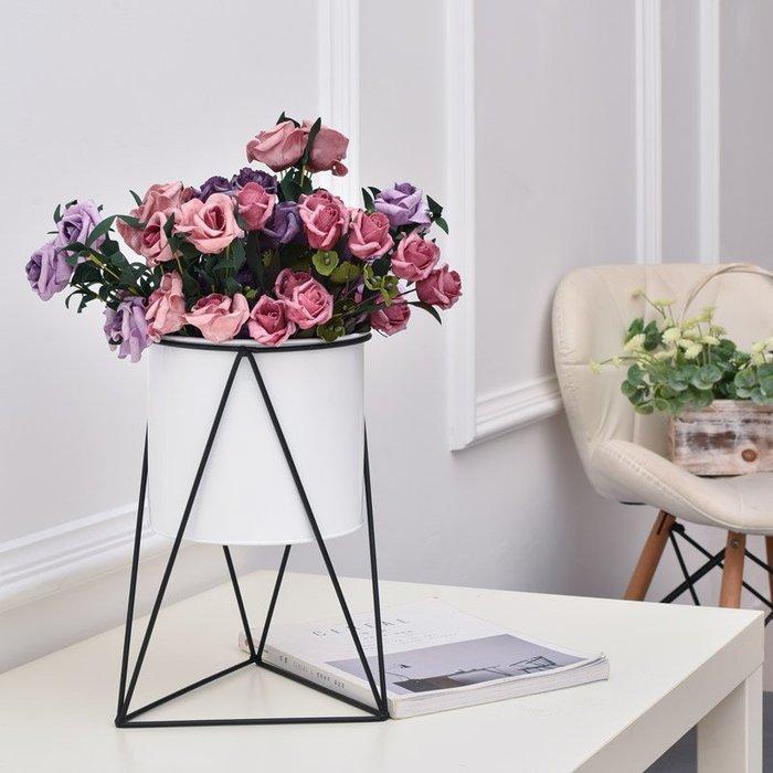 北歐花盆鐵藝花架綠蘿辦公室客廳家居創意裝飾品擺件桌面花盆【優品城】