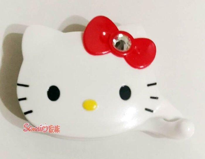 《東京家族》台灣製 HELLO KITTY 造型白色鑲鑽紅蝴蝶結髮夾髮飾相交夾 盒裝