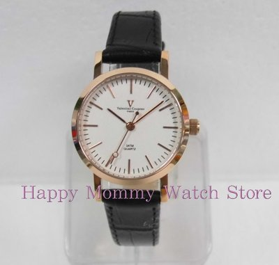 【 幸福媽咪 】valentino coupeau范倫鐵諾 簡約風格皮革錶帶 女錶 金色x白面 61576RG