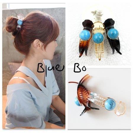 ~*BlueBo*~Korea 韓國飾品  波西米亞風 土耳其藍珠 大三角魚夾  鯊魚夾/抓夾