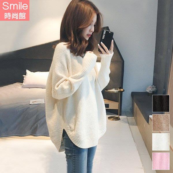 【V3174】SMILE-時尚甜兒.純色寬鬆V領針織長袖上衣