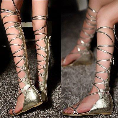 OUTLET特價商品 皮革羅馬魚骨涼鞋 高統 + 超高統 綁帶晚宴涼鞋 女鞋 日本韓國Chanel 風格