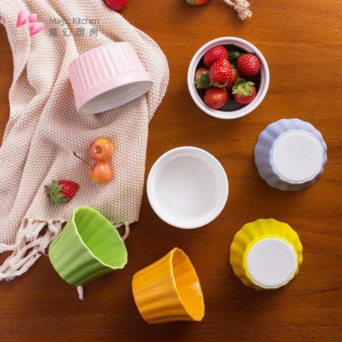 千夢貨鋪-舒芙蕾陶瓷烤碗圓形蛋糕碗烤盅布丁杯日式甜品多用途烘焙模具#搟面杖#菜板#長筷子#實木#打蛋器