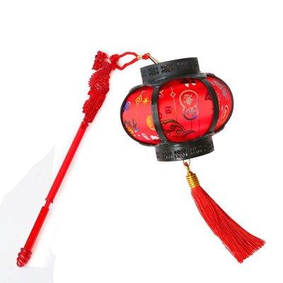 新年裝飾小紅燈籠掛飾兒童發光手提電池LED喜慶福字陽臺