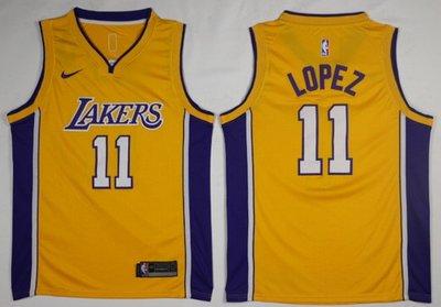 NBA湖人隊11號   洛佩茲籃球衣  Brook-Lopez  籃球服 黃色