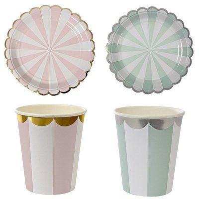 {采庭生活館}粉彩條紋紙盤 英式下午茶點心盤 歐式婚禮派對野餐Candy bar 餐具免洗盤(8入)