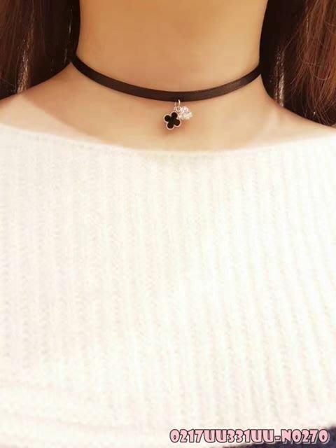 韓國正品 (( 現貨 )) 黑色皮飾好看頸鍊