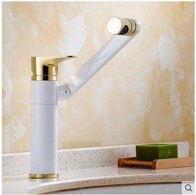【優上】歐式全銅面盆冷熱水龍頭可360度旋轉臉盆龍頭白加金標準款