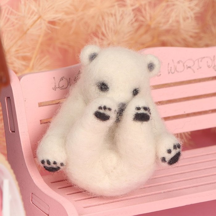 千夢貨鋪-羊毛手工制作玩偶diy材料包孕期打發時間手創北極熊掛件#玩偶#手工製作玩偶#材料#羊毛