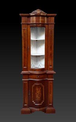 【家與收藏】特價稀有珍藏歐洲古董英國古典精緻手工Inlaid鑲嵌角落櫃/高邊櫃/展示櫃/置物櫃 2