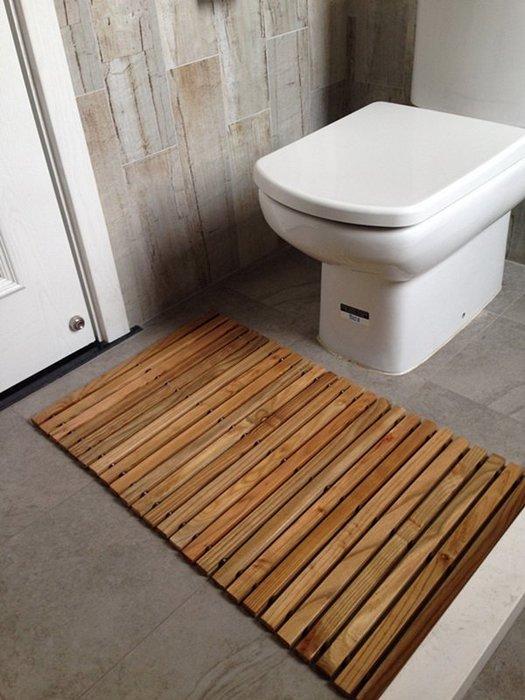 【奇滿來】實木地墊 木質地墊80*50cm 廁所衛浴防滑墊 止滑墊 門口腳踏墊 鞋櫃晾鞋墊 園藝盆栽墊 木棧板 AYBK