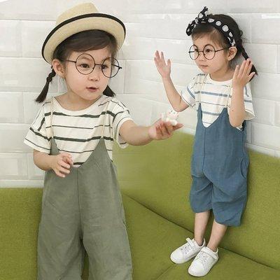 ♥【BK0265XK-6712】韓版女童裝ins爆款闊腿麻繩背帶褲 2色 (藍色 現貨) ♥