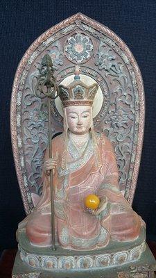 【準提坊】地藏王菩薩,手工彩繪敦煌風味,老蜜蠟珠17mm,總高約35cm,總重約 7.5公斤