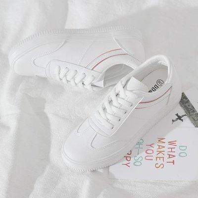 小白鞋女2018秋季新款休閒百搭韓版學生厚底板鞋皮面內增高白鞋子