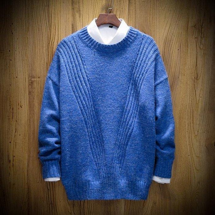 【免運】圓領休閒針織毛衣 男士加肥大尺碼胖子寬鬆外套正韓潮流男裝