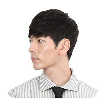 整頂 假髮 真髮絲-時尚蓬鬆黑色短髮男假髮73vb18[獨家進口][米蘭精品]