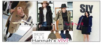 HannahxVIVI 全新 SLY最新2015年度定番超高人氣襲捲N3B羊羔絨豐厚貂子毛領修身短版加厚夾棉大衣外套