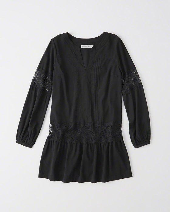 【天普小棧】A&F Abercrombie Lace Drop Waist Dress長袖蕾絲洋裝黑色XS號