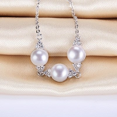 珍珠 手 鍊 925純銀手環-7.5mm鑲嵌鋯石生日情人節禮物女飾品73qn1[獨家進口][巴黎精品]
