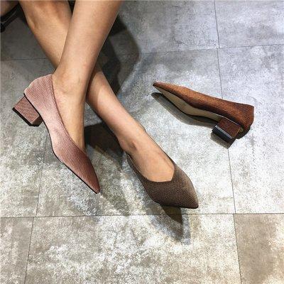 Sarah  實拍新款粗跟中跟金絲絨女尖頭穆勒鞋一腳蹬百搭休閑女涼鞋秋