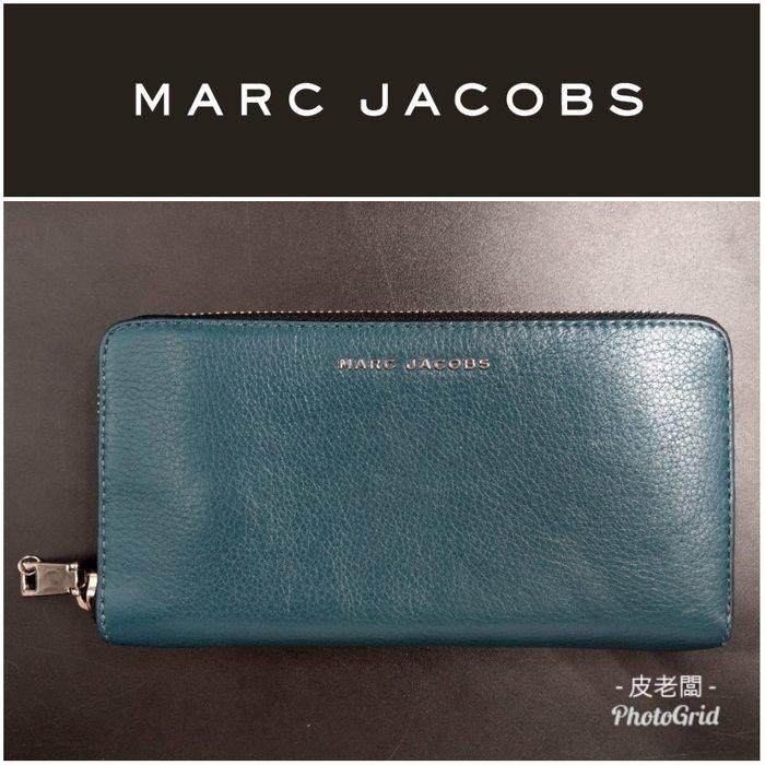 【皮老闆】近全新真品 Marc Jacobs 雙色 皮夾 長夾 (藍53)