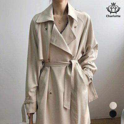Charlotte 法式女風衣 風衣外套 翻領風衣 雙排釦外套 綁帶外套 長袖外套 休閒外套 風衣 外套【CHCO30】