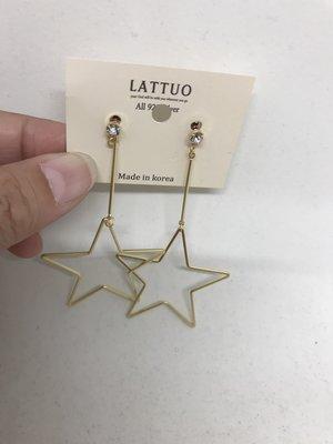 韓國製 星星垂墜針式耳環