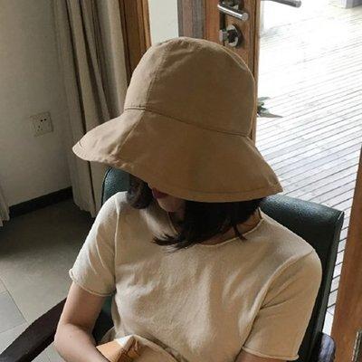 韓版百搭日系chic漁夫帽女夏天遮陽帽子休閑防曬太陽帽出游夏遮臉