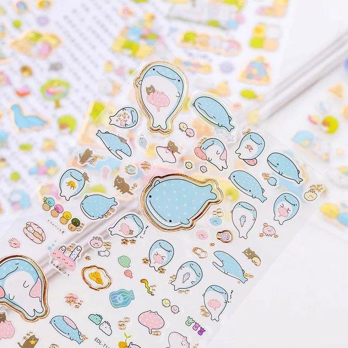可愛卡通鯨魚角落生物貼紙 diy手帳貼紙 日記裝飾貼