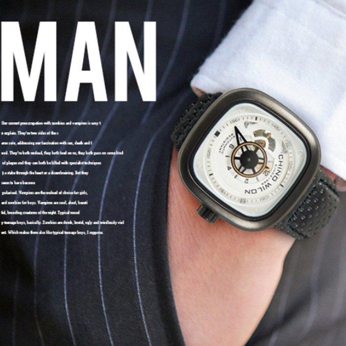 Wilon方形鏤空齒輪自動機械錶 幻變藍鏡 免電池【含原廠盒】☆匠子工坊☆【UK0099】