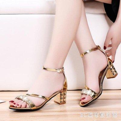 粗跟涼鞋 新款水鉆高跟粗跟涼鞋女性感羅馬鞋包跟女鞋金色搭扣潮鞋LB13348【魅力時尚】