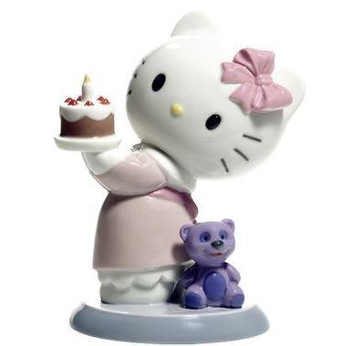 鼎飛臻坊 Hello Kitty 凱蒂貓  Lladro純手工製作 生日造型 陶瓷 娃娃 擺飾  日本正版