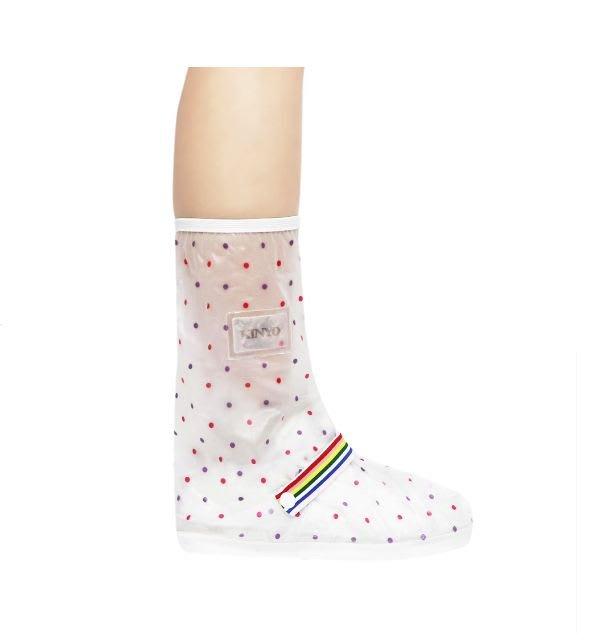 KINYO 女高筒圓點印花防雨鞋套 RAS-5765 雨天 防滑 鞋套