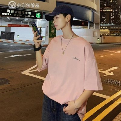 短袖T恤 T恤男潮牌嘻哈寬鬆hiphop短袖國潮印花oversize半截袖打底衫